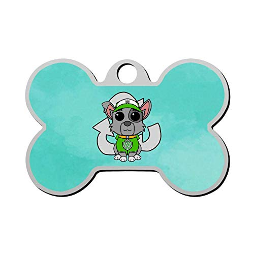 VinMea Zinc Alloy ROC-ky Funko Pop Pet ID Tags Personalized Custom Print Bone Shape Dog Tags & Cat Tags