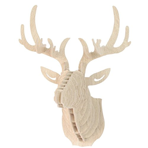 Da Jia Inc Vintage Style DIY 3D Puzzle Deer Head Wall Hanging Decor (Beige)