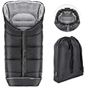 Zamboo Universal Footmuff for Pushchair, Pram, Stroller and Buggy - Non-Slip Thermo Fleece Stroller Footmuff with Drawstring Hood and Travel Pouch - Black/Grey