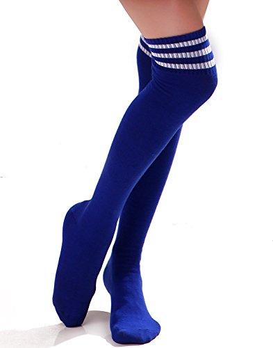 HDE Women Three Stripe Over Knee High Socks Extra Long Athletic Sport Tube Socks (Blue/White)