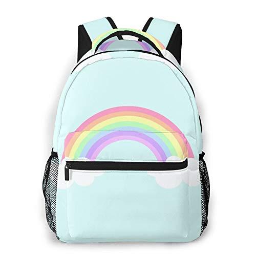 Judascepeda Zaino multiplo per il tempo libero,Grafico blu brillante pastello arcobaleno nuv, sport da viaggio Borsa da scuola per studenti universitari giovani adulti