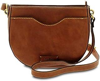 GIUDI ® - Borsa Donna in pelle vacchetta nuvolata, tracolla,Made in Italy, vera pelle. (Marrone)