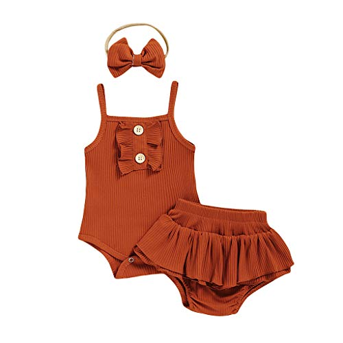 Neugeborenes Baby- Unisex Schlafsack Strampler Baby Baby Mädchen Solid Suspender Romper Bodysuit + Blumendruck Shorts Outfits ODRD Mädchen Jungen Body Babyschlafsack