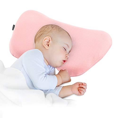 Bammax Cuscino per bambini, Cuscino Neonati, Cuscino in schiuma per bambini (rosa)