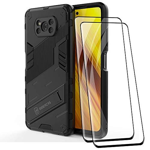 DOINK Armadura Funda para el Xiaomi Poco X3 Pro / X3 NFC, Carcasa Case Cover de PC+TPU Estuche con Soporte, Funda + 2 Pack Protector de Pantalla - Negro.