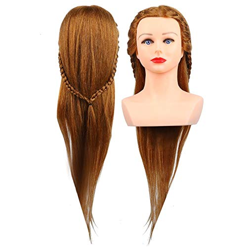 cheveux humains cosmétologie mannequin mannequin formation, cheveux brun clair tête de mannequin coiffeur coiffure style tressage formation tête extensions de cheveux(marron)