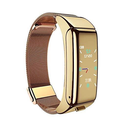 LYB Smart Sports Pulsera Llamada Música Monitoreo Corazón Monitoreo Paso Contando Fitness Multifuncional Smart Watch (Color : Gold)