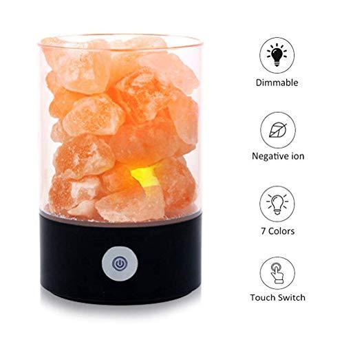 Lamp van natuurlijk Himalaya-zout, natuurlijke lychee van bergkristal, 7 lichtkleuren met design van de wastafel en touch-functie, dimbaar, zwart