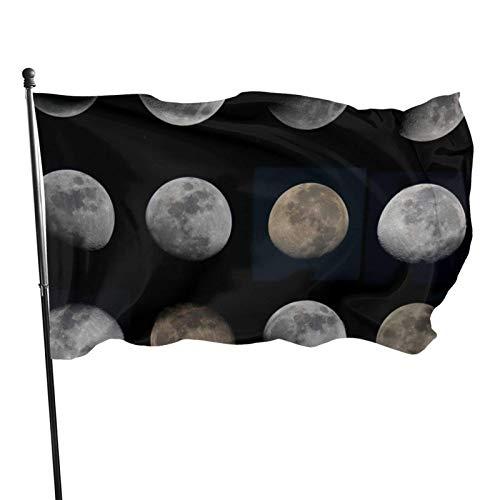 GOSMAO Bandera de jardín Doce Fases Lunares Color Vivo y Resistente a la decoloración UV Bandera de Patio con Doble Costura Bandera de Temporada Banderas de Pared 150X90cm