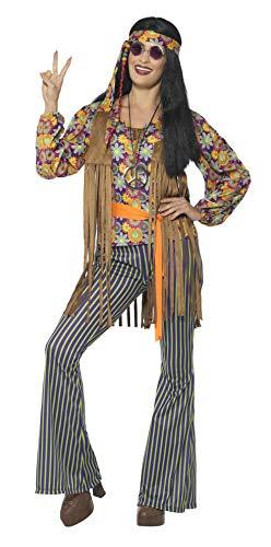Smiffys-44681S Disfraz de Cantante Hippie años 60, para Mujer, con Camiseta, chalec, Multicolor, S-EU Tamaño 36-38 (Smiffy