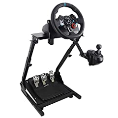 "Compatible model: Logitech G25, G27, G29, G920;Thrustmaster T300,T300RS, T150,TX F458 & T500RS;PS3,PS4; Other wheels can be clamped on. Wheel stand is adjustable in angle and height (from 25.6"" up to 31.9"") , and the wheel plate is adjustable in angl..."