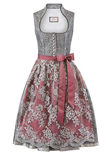 Stockerpoint Damen Dirndl Karissa Kleid für besondere Anlässe, grau-Bordeaux, 46