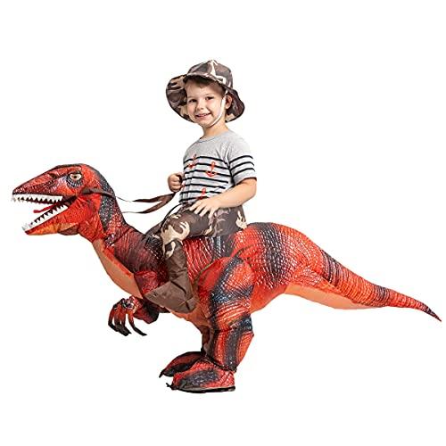 GOOSH 55 INCH Inflatable Costume for Chidlren, Halloween Costumes Boys Girls Dinosaur Rider, Blow Up...