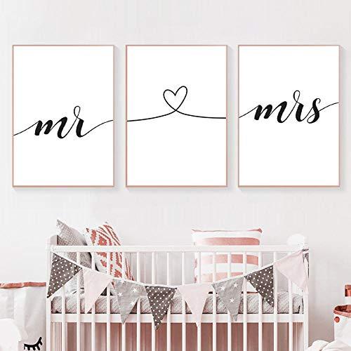 Tanyang Mr Mrs Family Simple Quote Wall Art Canvas Poster Heart Shape Print Pareja Aniversario Pintura Imagen para la decoración de la habitación 60 * 80cm * 3pcs
