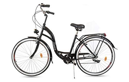 BDW Blanca Komfort - Bicicleta holandesa con soporte trasero, 6 velocidades, color blanco, 26 pulgadas