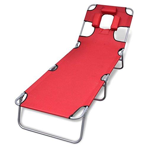 vidaXL Chaise Longue Pliable avec tête Coussin Dossier Ajustable Rouge Bain de Soleil