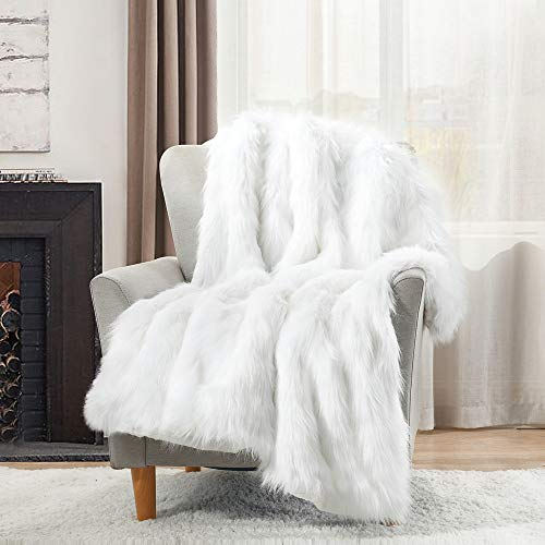 HORIMOTE HOME Luxury Faux Fur Throw Blanket,White High Pile Mixed Throw Blanket, Super Warm, Fuzzy, Elegant, Fluffy Decoration Blanket Scarf for Sofa, Couch and Bed,152x203cm