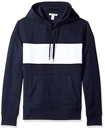 Amazon Essentials – Sudadera de forro polar con capucha para hombre, Azul (Navy/White), US L (EU L)