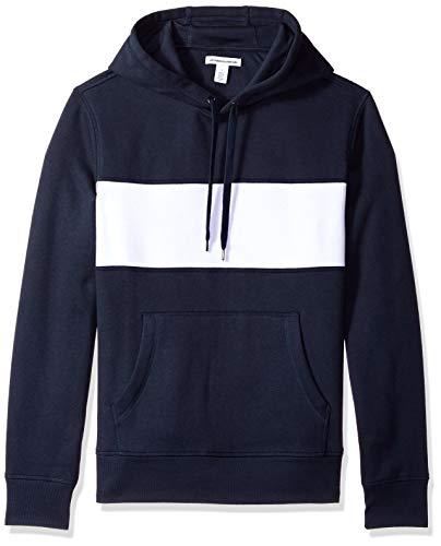 Amazon Essentials Men's Hooded Fleece Sweatshirt, Navy/White Stripe, Large