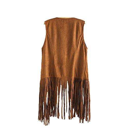 Cuekondy Women's Fringe Vest Cardigan Faux Suede Tassels Open Front Sleeveless Jacket 70s Hippie Costume Outwear