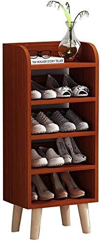 Zapato Rack Teak Color de 5 capas Zapato de 3 capas Casa Mueble de zapatos multifunción 40 * 99 * 29cm Ensamblaje Easy Montaje Sistema Moderno Moderno Moderno Ideal ideal para Pasillo, Sala de estar,