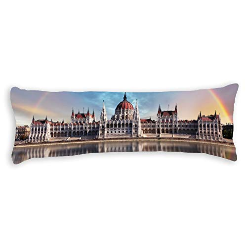 Fhdang Decor Budapest Hongrie Building Body Pillow Case Soft Cotton Lavable en Machine avec Fermeture éclair Maternité Grossesse, Coton, King 5ft (60'')