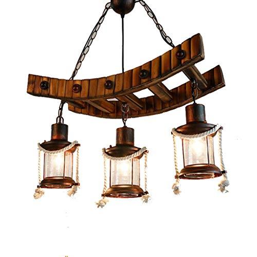 YANGQING Lámparas de madera de la lámpara de araña vintage colgante de madera