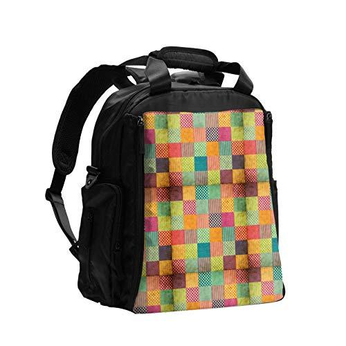 Patchwork Grunge Plaid gran capacidad multifunción bolsa de pañales mamá papá bolsa de cuidado del bebé bolsa de pañales bolsa de enfermería