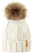TOSKATOK Ladies Chunky Soft Cable Knit Hat with Cosy Fleece Liner and Detachable Faux Fur Pompom…
