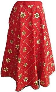 SNEH Women's Silk Heavy Gota Work Skirt (Red,Free Size)