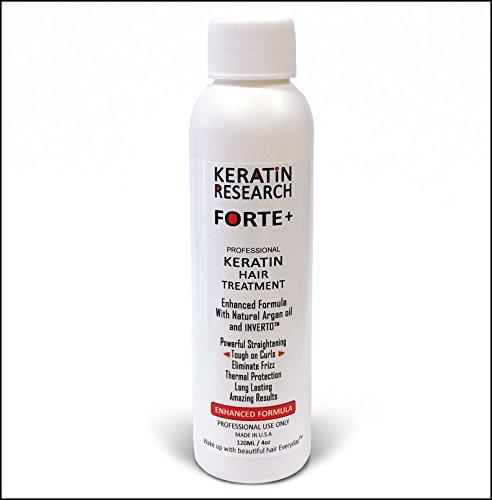 Keratin Forte Keratin Brazilian Keratin Hair Blowout Treatment Extra Strength 120ml Enhanced Formula for Curly Hair By Keratin Research with Moroccan Argan oil Queratina Brasilera Tratamiento Forte