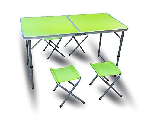 RSonic - Tavolo da campeggio pieghevole in alluminio, con 4 sgabelli, 120 x 60 + 60-70 cm, colore: verde