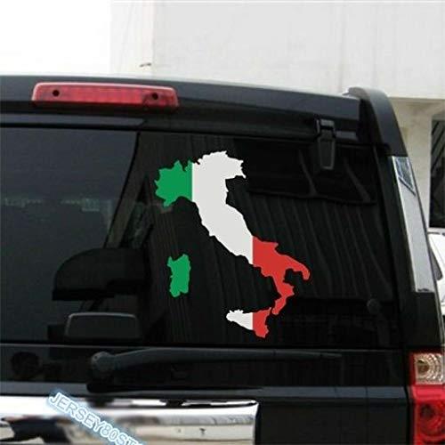 SUPERSTICKI Italien Umriss Fan Italy Flagge 20 cm Aufkleber Autoaufkleber,Wandtattoo Profi-Qualität für Lack,Scheibe,etc.Waschanlagenfest