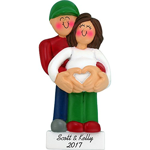 Calliope Designs Pregnancy Personalized Christmas Ornament - We're Expecting - Female Brown Hair - Handpainted Resin - 4.25' Tall - Customization