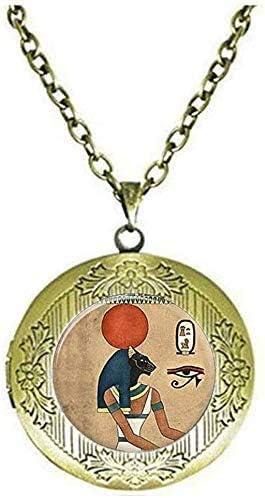 Egyptian Bastet Locket Necklace Handmade Jewelry Art Picture Jewelry
