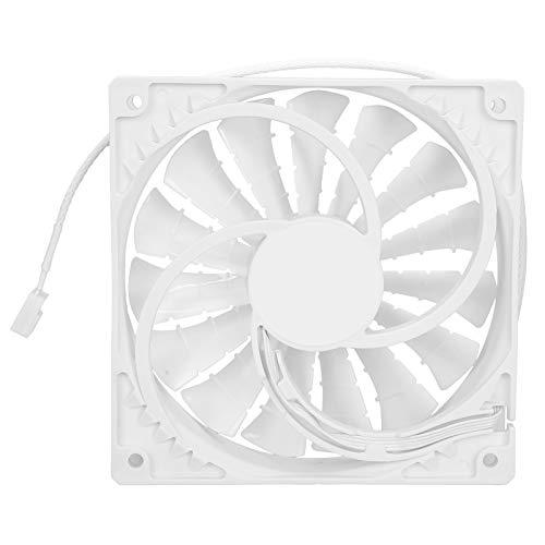 Ventilador de chasis de refrigeración de 120 x 120 x 25 mm 0,35 A para PC de Juegos, radiador de Escape silencioso de Alto Volumen de Aire con 15 Cuchillas de 4 Pines(Blanco)