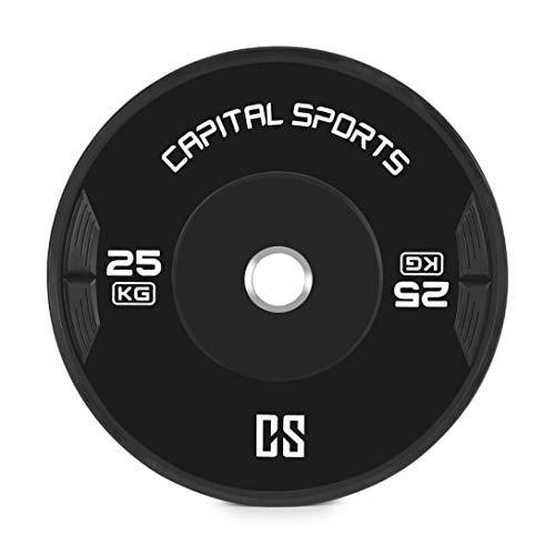 Capital Sports Elongate - Coppia Dischi Peso, 2 x Dischi da 25 kg, Gomma Dura di Alta qualità, Apertura da 50,4 mm, Nero
