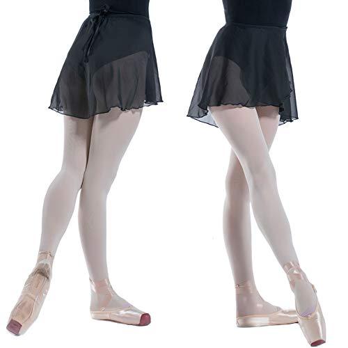 DANCEYOU Tanzrock Tüllrock Chiffon-Ballettwickelrock Wickelrock Rock Ballett Tanzkleidung tanzen Gürtel Tanzbody Kleider für Frauen, 2 Farben, Erwachsene Einheitsgröße