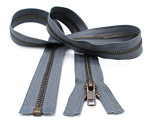 YKK- Jacket Zippers YKK #5 Antique Brass- Metal Teeth Separating for Crafter's Special Color Rail Grey #578 Made in USA -Custom Length (6 inches)