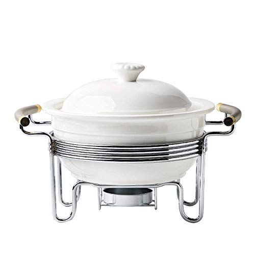 zvcv 3 Quart Buffet Casserole Dish,Ceramic Chafer with candle holder,Chafing Catering Warmer Set,Keep food calories,for Party brunches catering events Soup Porridge