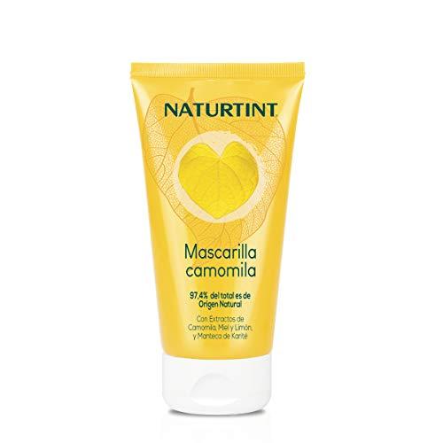 Naturtint Mascarilla Camomila. Hidratación y Brillo. Intensos Reflejos Dorados. 97,4% Ingredientes Naturales. Camomila, Miel y Limón. 150ml