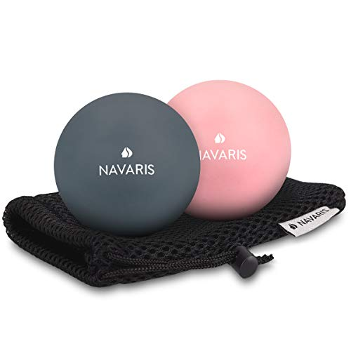 Navaris Massageball 2er Set Faszien Massage - Selbstmassage Faszienball Lacrosse Ball Trigger Point - Fuß Roller Triggerpunkte - 2 Härtegrade