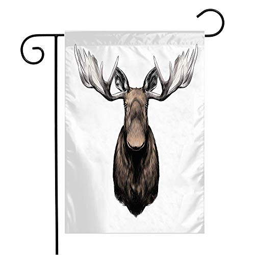 Garden Flag Yard Decorations Elk Drawing Big Head Color Alone Pattern Animals Wildlife Isolated Male Wild Nature Stuffed Sketch Outdoor Small Polyester Flag Double Sided 12' x 18'