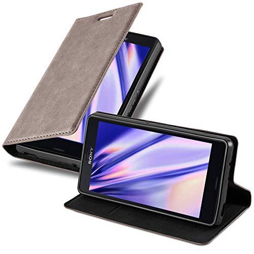 Cadorabo Hülle für Sony Xperia Z3 COMPACT - Hülle in Kaffee BRAUN – Handyhülle mit Magnetverschluss, Standfunktion und Kartenfach - Case Cover Schutzhülle Etui Tasche Book Klapp Style