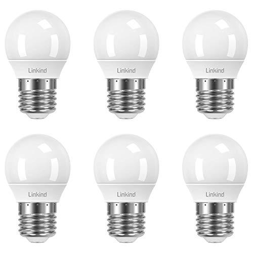 Linkind Lámpara regulable Golf P45 E27 de 5 W, lámpara incandescente de 40 W reemplazada, 2700 K blanco cálido, 470 lm, certificación CE / RoHS / ErP, paquete de 6