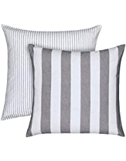 """WAVERLY Throw Pillow Covers - Kensington Bloom Striped Decorative Pillow Cases Euro Sham for Sofa Couch Bedroom Living Room, 26"""" x 26"""", Grey"""