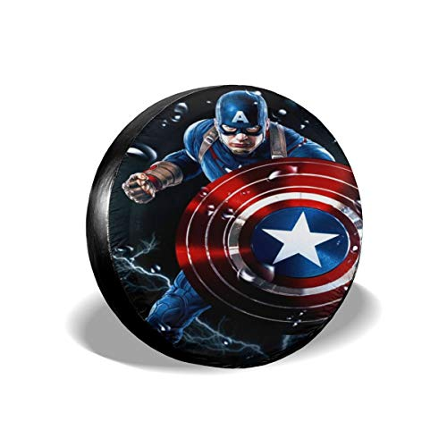Heavenly Battle Captain America The Avenger Spare Tire Covers Universal Tire Cover Dust-Proof Waterproof Wheel Covers for Jeep, Trailer, RV, SUV, Truck and Many Vehicle Wheel Diameter-17 inch