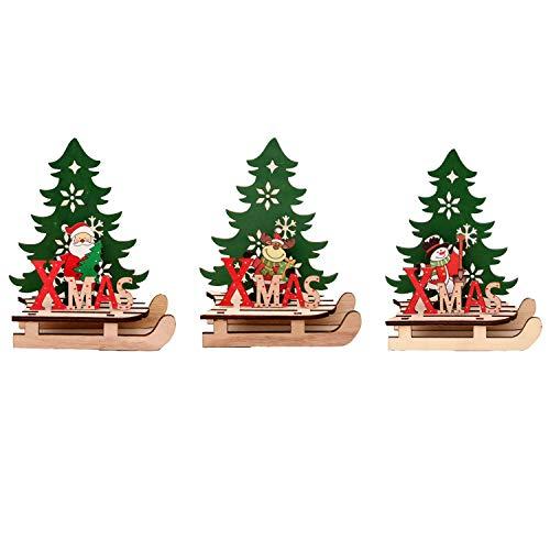 Wohlstand 3Pcs Ornamento Di Natale In Legno,Fai Da Te Cartoon Puzzle,Decorazioni Di Albero Di Natale,Di Slitta Decorazioni Di Natale Per L'Home Store Office