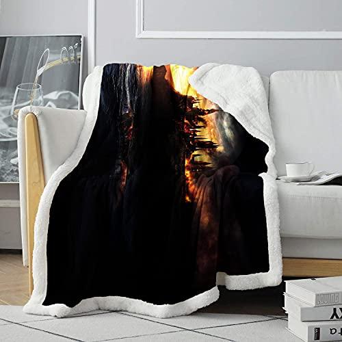 Coperta Sherpa 3D Dusk Eden End Sofa Coperta Coperta con stampa Coperta soffice per bambini Coperta in velluto 120x150cm