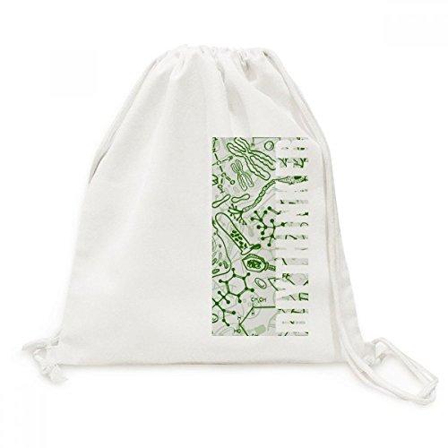 DIYthinker Grünes Mikroskop Zellen Struktur Biological Canvas-Rucksack-Reisen Shopping Bags